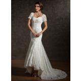 Trompete/Sereia Coração Assimétrico Tule Vestido de noiva com Pregueado Renda Bordado (002011616)