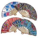 Design floral Bambu/Seda Ventilador de mão (Conjunto de 4) (051040143)