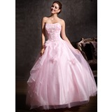 Ball-Gown Sweetheart Floor-Length Tulle Quinceanera Dress With Lace Beading Flower(s) Cascading Ruffles (021004665)
