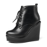 Donna Similpelle Zeppe Stiletto Piattaforma Zeppe Stivali Stivali alla caviglia con Allacciato scarpe (088182645)