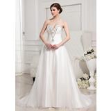 Vestidos princesa/ Formato A Coração Cauda longa Cetim Organza de Vestido de noiva com Pregueado Bordado (002011942)