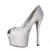 Aтласная Высокий тонкий каблук Сандалии Платформа Открытый мыс с горный хрусталь обувь (085026597)