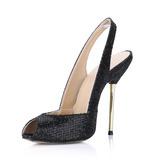 Мерцающая отделка Высокий тонкий каблук Сандалии Открытый мыс Босоножки обувь (087022623)