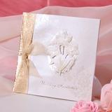 Bloemen Stijl Zijvouw Invitation Cards met Linten (Set van 50) (114033286)