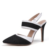 Donna Similpelle Jean Tacco a spillo Sandalo Stiletto Punta chiusa Con cinturino scarpe (085191896)
