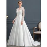 De Baile/Princesa Decote V Cauda de sereia Cetim Vestido de noiva com Curvado (002171947)