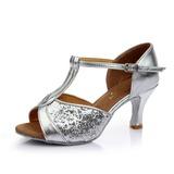 Женщины кожа На каблуках Сандалии Латино с Т-ремешок Обувь для танцев (053053118)