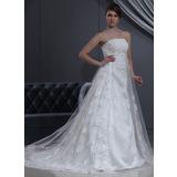 Império Sem Alças Cauda longa Tule Renda Vestido de noiva com Bordado (002000267)