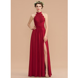 A-Line High Neck Floor-Length Chiffon Lace Bridesmaid Dress With Ruffle Split Front (007165875)