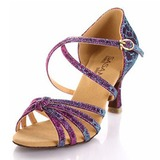 Mulheres Pano Saltos Sandálias Latino com Correia de Calcanhar Sapatos de dança (053025585)