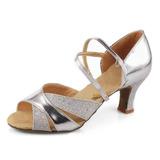 Mulheres Couro Saltos Sandálias Latino Sapatos de dança (053007246)