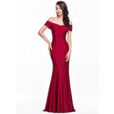 Trompete/Sereia Off-the-ombro Longos Jersey Vestido de festa (017065553)