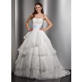 De baile Coração Cauda longa Organza de Vestido de noiva com Renda Cintos Curvado Babados em cascata (002012750)