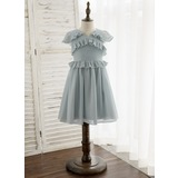 A-Line Knee-length Flower Girl Dress - Chiffon Sleeveless V-neck With Ruffles (010172335)