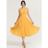 A-Line V-neck Tea-Length Chiffon Cocktail Dress With Pleated (016170861)