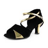Mulheres Couro Nubuck Saltos Sandálias Latino com Correia de Calcanhar Sapatos de dança (053013442)