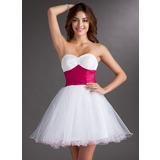 Império Coração Curto/Mini Tule Vestido de boas vindas com Cintos Bordado (022020753)
