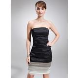 Платье-чехол Без лямок Длина до колен Шармёз Коктейльные Платье с Рябь (016008237)