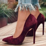 Women's Suede Spool Heel Pumps Closed Toe shoes (085182665)