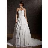 Платье для Балла В виде сердца Церемониальный шлейф шифон Свадебные Платье с Рябь Бисер блестками (002011504)