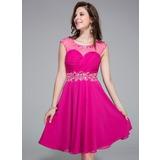 Vestidos princesa/ Formato A Decote redondo Coquetel De chiffon Vestido de boas vindas com Pregueado Bordado Lantejoulas (016025520)