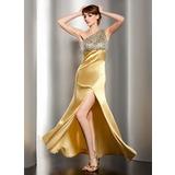 Trompete/Sereia Um ombro Longos Charmeuse Vestido de baile com Pregueado Bordado Frente aberta (018014505)