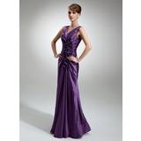 Платье-чехол V-образный Длина до пола Тафта Платье Для Матери Невесты с Рябь Цветы (008006196)