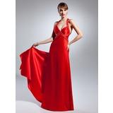 Трапеция/Принцесса V-образный Длина до пола Шармёз Платье Для Выпускного Вечера с Бисер (018015072)