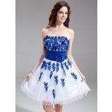 Vestidos princesa/ Formato A Coração Coquetel Tule Vestido de boas vindas com Bordados Cintos Bordado fecho de correr (022016299)