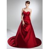 Платье для Балла В виде сердца Собор поезд Атлас Свадебные Платье с Рябь (002015383)