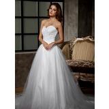 De baile Coração Cauda longa Tule Vestido de noiva com Pregueado Renda Bordado (002011676)