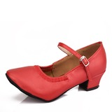 Mulheres Couro Balé com Fivela Sapatos de dança (053107724)