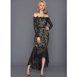 Trumpet/Mermaid Off-the-Shoulder Asymmetrical Lace Cocktail Dress (016108742)