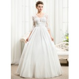 Ball-Gown V-neck Floor-Length Taffeta Wedding Dress With Ruffle Beading Sequins (002056594)