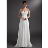 Empire Sweetheart Sweep Train Chiffon Bridesmaid Dress With Beading Appliques Lace Sequins (007016772)