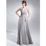 С завышенной талией V-образный Длина до пола шифон Платье Для Матери Невесты с Рябь Бисер (008015070)