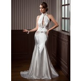 Trumpet/Mermaid High Neck Court Train Charmeuse Tulle Wedding Dress With Ruffle Beading (002012202)