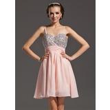 Vestidos princesa/ Formato A Coração Curto/Mini De chiffon Vestido de boas vindas com Bordado (022020865)