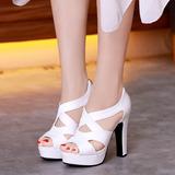 Женщины кожа Высокий тонкий каблук Сандалии Платформа Открытый мыс обувь (117125207)