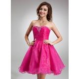 Vestidos princesa/ Formato A Coração Coquetel Organza de Vestido de madrinha com Bordado Lantejoulas (022020825)