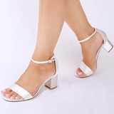 Women's Satin Chunky Heel Peep Toe Sandals With Buckle (047142644)