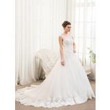 De baile Decote redondo Cauda longa Tule Renda Vestido de noiva com Beading lantejoulas (002054359)