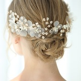 Beautiful Crystal Combs & Barrettes With Venetian Pearl (Set of 3) (042192948)