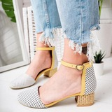 Women's Cloth Chunky Heel Sandals With Buckle shoes (085209472)