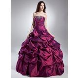 Платье для Балла Без лямок Длина до пола Тафта Пышное платье с Рябь Бисер (021015621)