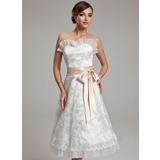 Vestidos princesa/ Formato A Coração Coquetel Renda Vestido de noiva com Cintos Curvado (002000174)