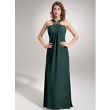 Платье-чехол V-образный Длина до пола шифон Вечерние Платье с Рябь Бисер (017002609)