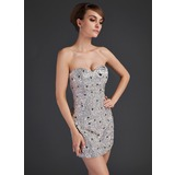 Forme Fourreau Bustier en coeur Court/Mini Satiné Pailleté Robe de cocktail avec Emperler (016015665)