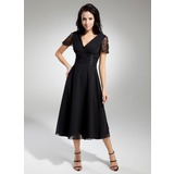 A-Line V-neck Tea-Length Chiffon Mother of the Bride Dress With Ruffle Beading (008014919)