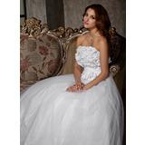 Трапеция/Принцесса Без лямок Длина до пола Тюль Свадебные Платье с Рябь Цветы (002011448)